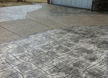 stamping concrete to provide decorative finishing